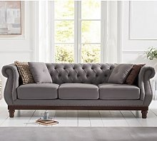 Ruskin 3 Seater Sofa In Grey Linen With Dark Ash
