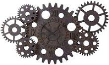 Rust Effect Wood Cogwheel Industrial Clock D125