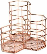 Rust Proof Rose Gold Hexagonal Desk Tidy for