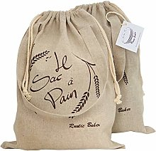 Rustic Baker Natural Linen Bread Bag, 2-Pack,