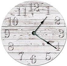 Rustic Beach Board Wooden Wall Clock Silent Modern