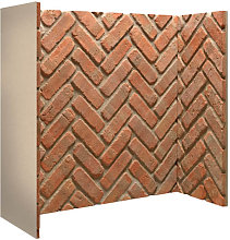 Rustic Brick Herringbone Fireplace Chamber