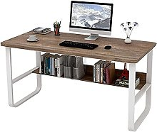 Rustic Brown Computer Desk White Metal Frame with