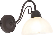 Rustic brown wall lamp with glass - Dallas