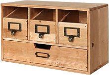 Rustic Desktop Wooden Office Organiser Drawers /