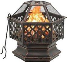 Rustic Fire Pit with Poker 62x54x56 cm XXL Steel -