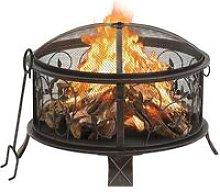 Rustic Fire Pit with Poker 67.5 cm XXL Steel -