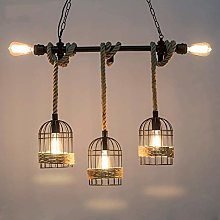 Rustic Hemp Rope Iron Chandelier Pendant lamp
