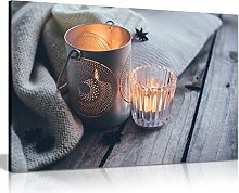 Rustic Home Decor Cosy Candlelights Canvas Wall