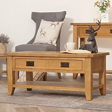 Rustic Oak Coffee Table With Drawers