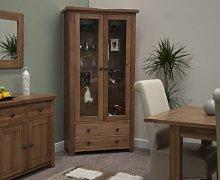 Rustic Oak Glass Display Cabinet