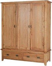Rustic Oak Triple Wardrobe with Drawers - Furniture