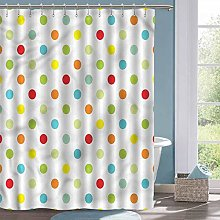 Rustic Shower Curtain Polka Dots Colorful Spots