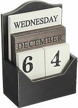 Rustic Vintage Wood Block Perpetual Calendar