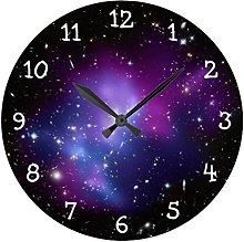 Rustic Wall Clock for Living Room Decor Purple