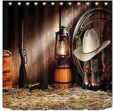 Rustic Western Cowboy Shower Curtain Waterproof