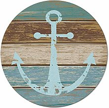 Rustic Wood Anchor Area Round Rugs 3ft, nautical