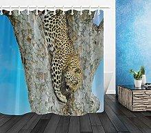 Rustic Wood Tree Leopard Climbing Waterproof