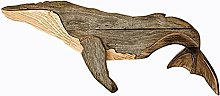 Rustic Wooden Whale Wall Art Decor - Whale Wall