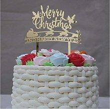 Rustic Year Decoration Gold Acrylic Christmas Cake