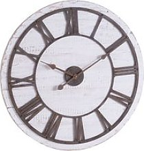 Rustics Wooden Wall Clock In White And Brown With