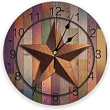 Rusty Stars PVC Wall Clock, Silent Non-Ticking