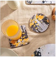 Ruth Holly - Charcoal Grey And Yellow Coaster