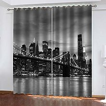 RXWZRL Blackout Curtains For Bedroom 3D Black And