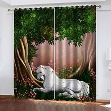 RXWZRL Blackout Curtains For Bedroom 3D Forest