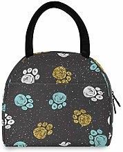 RXYY Galaxy Animal Paw Print Lunch Bag Box for
