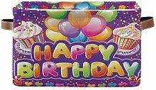 Rxyy Happy Birthday Party Canvas Fabric Storage