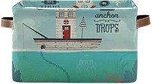 Rxyy Summer Boat House Bird Canvas Fabric Storage