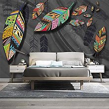 rylryl 3D Mural Abstract Color Feather Photo Wall