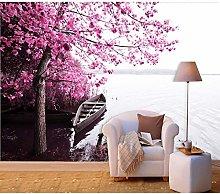 rylryl Natural Scenery Wallpaper Lakeside Pink