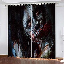 RYQRP Blackout Curtain Horror Woman Solid Eyelet