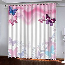 RYQRP Blackout Curtain Pink Butterfly Solid