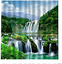 RYQRP Blackout Curtains Waterfall Forest Window