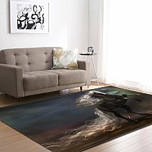 rzskdjgv Black Horse Animal Carpet 3D Printing