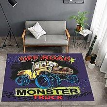 rzskdjgv Cartoon Monster Truck Pattern Carpet 3D