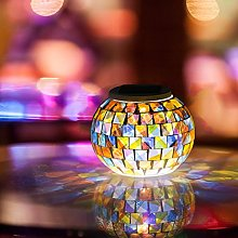 S-code Solar Powered Mosaic Glass Ball Garden