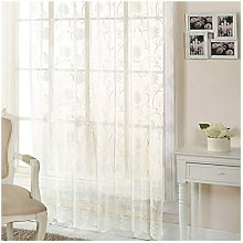 S.green - Emma Barclay Jamillia Floral Embroidered Lace Curtain Panel, Cream, 57 x 48 Inch