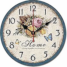 S.W.H Floral Shabby Chic Wall Clock - Retro Wooden