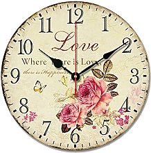 S.W.H Flower Wall Clock - Silent Rustic Vintage