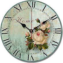 S.W.H shabby chic floral Wall Clock Silent Kitchen