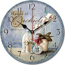 S.W.H Shabby Chic Floral Wall Clock, Wooden Silent