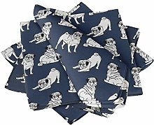 S4Sassy Blue Pug Dog Parties Table Decor Linen
