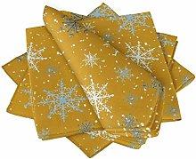 S4Sassy Gold Snow Flakes & Star Dinner Table Linen