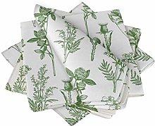 S4Sassy Green Clover & Daisy Floral Cotton Napkin