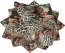 S4Sassy Orange Leopard & Tiger Animal Skin Cotton