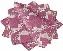 S4Sassy Pink Square & Rose Floral Printed Napkin